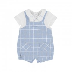 Mayoral Spring Summer Baby Boys White Blue Check Romper