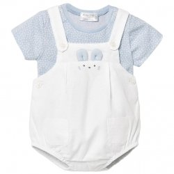 Mayoral Spring Summer Baby Boys Blue Top White Dungarees Shorts Set