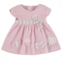 Mayoral Spring Summer Baby Girls Pink Dress With Appliques