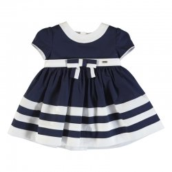 Mayoral Spring Summer Baby Girls Navy White Cotton Dress With Bow