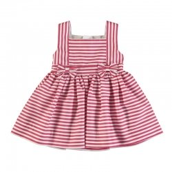 Mayoral Spring Summer Baby Girls Red Stripes Dress With Bows