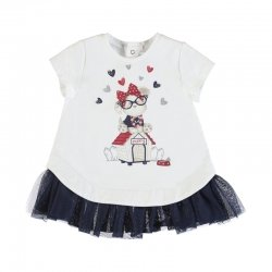 Mayoral Spring Summer Baby Girls White Navy Tulle Dress