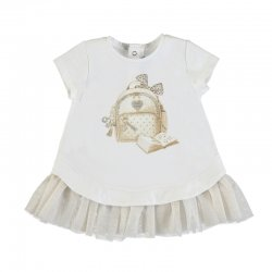Mayoral Spring Summer Baby Girls White Champagne Tulle Dress