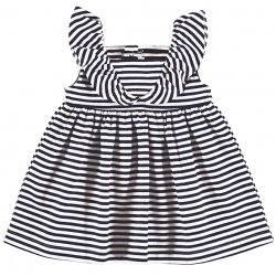 Mayoral Spring Summer Baby Girls White Navy Stripes Dress