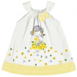 Mayoral Spring Summer Baby Girls Lemon Yellow Stripes Pretty Dress