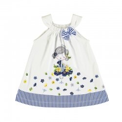 Mayoral Spring Summer Baby Girls White Navy Stripes Pretty Dress
