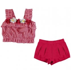 Mayoral Girls Spring Summer Red Gingham Flowers Top And Shorts Set