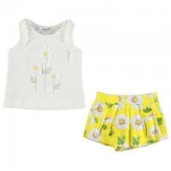 Mayoral Girls Spring Summer White Top Lemon Sunflowers Shorts Set