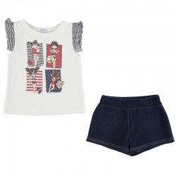 Mayoral Girls Spring Summer White T Shirt Navy Denim Shorts Set