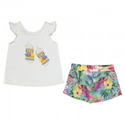 Mayoral Girls Spring Summer White Top Multi Floral Shorts Set
