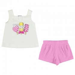 Mayoral Girls Spring Summer White Top Ice Lolly Print Pink Shorts Set