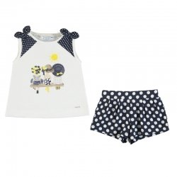 Mayoral Girls Spring Summer White Top Navy Polka Dots Shorts Set