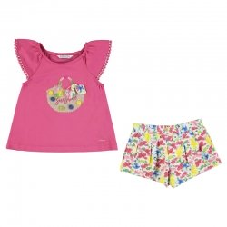 Mayoral Girls Spring Summer Fuchsia Top Multi Floral Shorts Set
