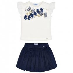 Mayoral Girls Spring Summer White T Shirt Top Navy Skort Set
