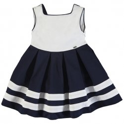 Mayoral Girls Spring Summer White Navy Nautical Dress