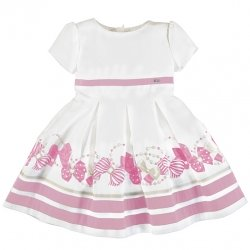 Mayoral Girls Spring Summer White Dress Pink Bow Pattern