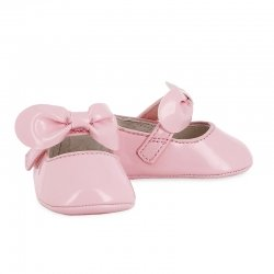Mayoral Baby Girls Blush Pink Patent Pram Shoes With Bow
