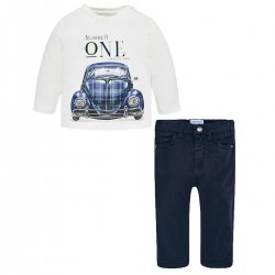 Mayoral Baby Boys Ivory Navy Beetle Top Navy Twill Trousers Set