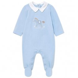 Mayoral Baby Boys Blue One Piece Horse Embroidered Footed Romper Outfit