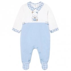 Mayoral Baby Boys White Blue One Piece Footed Romper Outfit Bear Embroidery