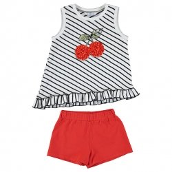 Mayoral Girls Spring Summer White Frills Stripes Top Red Shorts Set