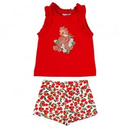 Mayoral Girls Spring Summer Red Top Red Cherries Shorts Set