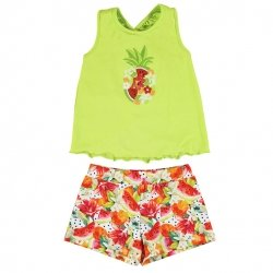 Mayoral Girls Spring Summer Green Top Multi Colour Shorts Set