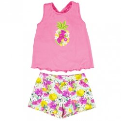 Mayoral Girls Spring Summer Pink Top Multi Colour Shorts Set