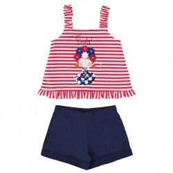 Mayoral Girls Spring Summer Red Stripes Frilly Top Navy Shorts Set