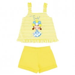 Mayoral Girls Spring Summer Lemon Yellow Stripes Top And Shorts Set