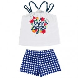 Mayoral Girls Spring Summer White Top Navy Gingham Shorts Set
