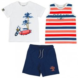 Mayoral Spring Summer 3 Piece White Red Navy Stripes T Shirts Navy Shorts Set