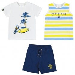 Mayoral Spring Summer 3 Piece White Yellow Stripes T Shirts Navy Shorts Set