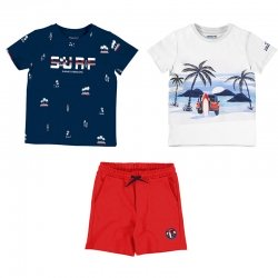 Mayoral Spring Summer 3 Piece Navy White T Shirts Red Shorts Set