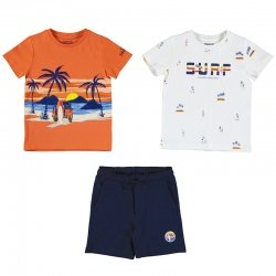 Mayoral Spring Summer 3 Piece White Orange T Shirts Navy Shorts Set