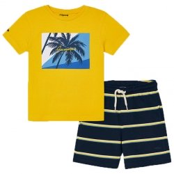 Mayoral Spring Summer Boys Lemon Yellow T Shirts Navy Stripes Shorts Set