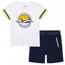 Mayoral Spring Summer Boys White T Shirts Skateboard Print Navy Shorts Set