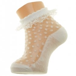Beautiful Mayoral Baby Girls Ivory Plumeti Mesh Frilly Socks