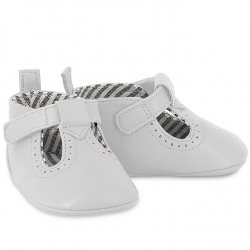 Mayoral Baby White T Bar Faux Leather Pram Shoes