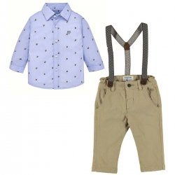 Mayoral Boys Blue Patterned Shirt Braces Khaki Chino Outfit