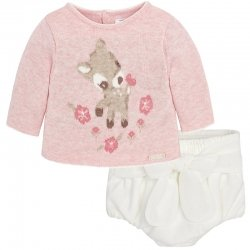 Mayoral Baby Girls Pink Knitted Jumper With White Bloomers Set