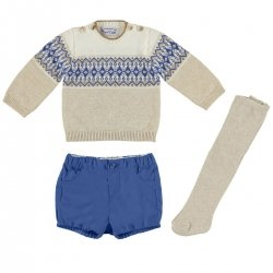 Mayoral Baby Boys Light Caramel Pullover Blue Shorts Caramel Tights Set