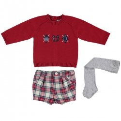 Mayoral Baby Boys Red Knitted Top Check Shorts Grey Tights Set
