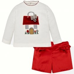 Mayoral Baby Girls Off White Top Red Velour Shorts Set
