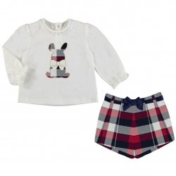 Mayoral Baby Girls Ivory Top Red Plaid Shorts Set