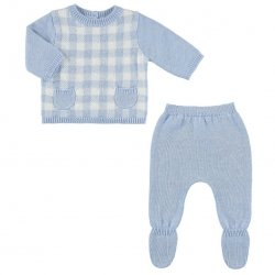 Baby Boys Blue Checks Knitted Jumper And Footed Trousers Set
