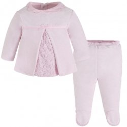 Mayoral Baby Girls Pink Lace Top And Footed Trousers Set