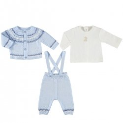 Mayoral Baby Boys Blue White 3 Piece Knitted Set