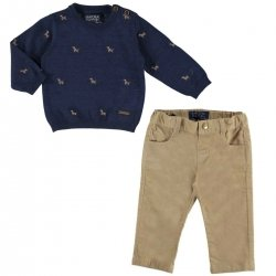 Mayoral Baby Boys Navy Sweater And Cotton Chino Trousers Set