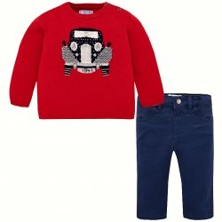 Mayoral Baby Boys Red Woollen Jumper Top Navy Trousers Set